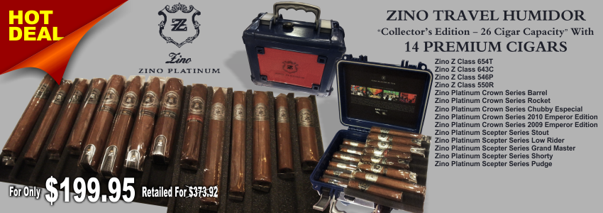Zino Collector's Edition Travel Humidor by Davidoff with 14 Premium Cigars.  THE DEAL IS HERE:ONE TRAVEL ZINO PLATINUM COLLECTOR'S EDITION HUMIDOR14 PREMIUM ZINO PLATINUM CIGARSFOR ONLY $199.95 RETAILED FOR $373.92